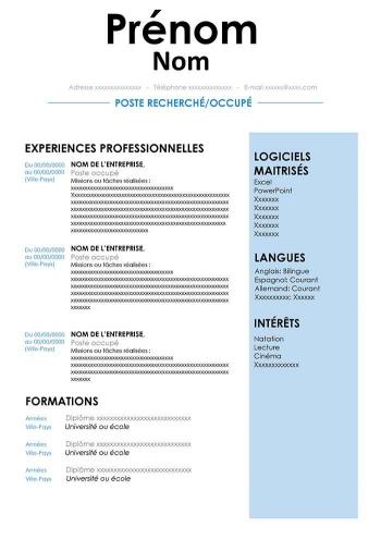 Créer Un Cv Gratuit Au Format Word Modèles De Cv