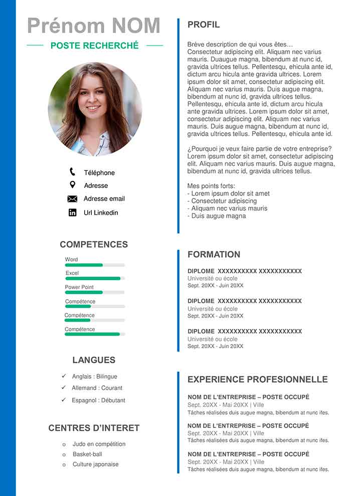 Template De Cv Microsoft Office Gratuit à Télécharger Cv