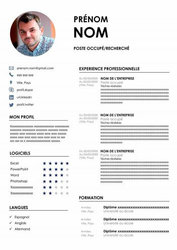 modele de cv avec photo
