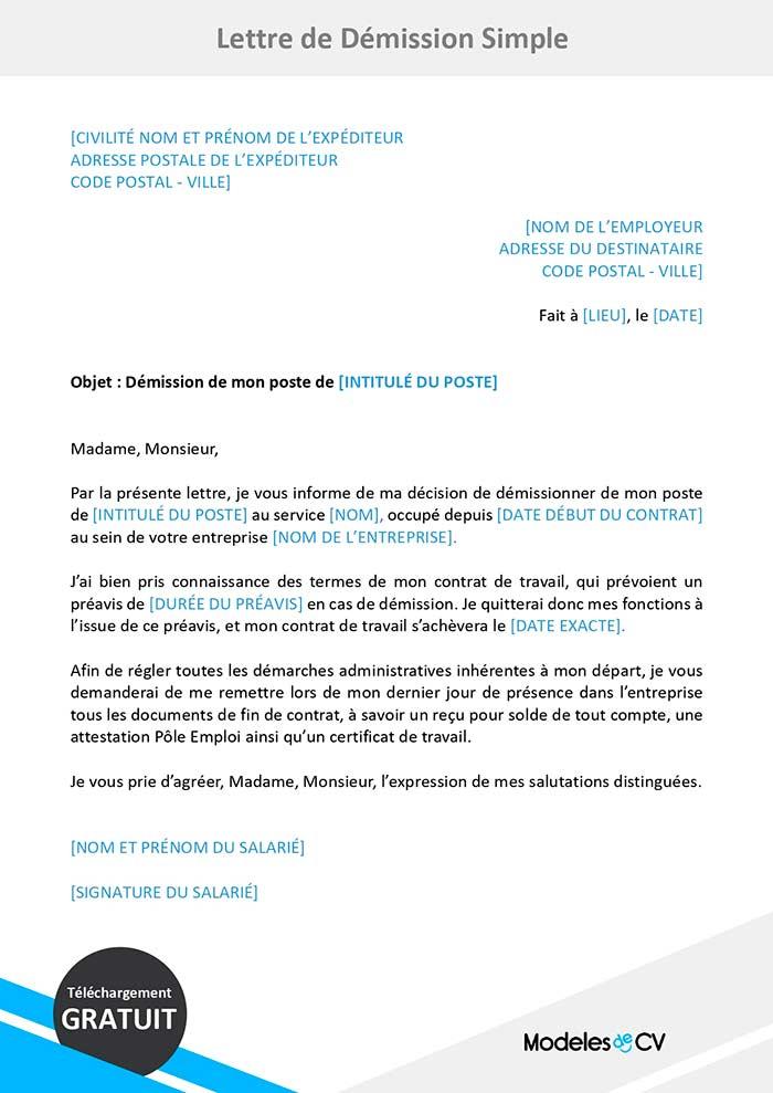 lettre de démission simple type