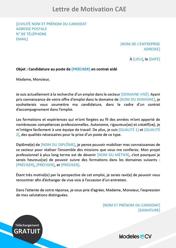 exemple de lettre de motivation pour un contrat aid u00e9
