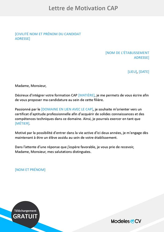 Lettre De Motivation Cap Exemple De Lettre Gratuite