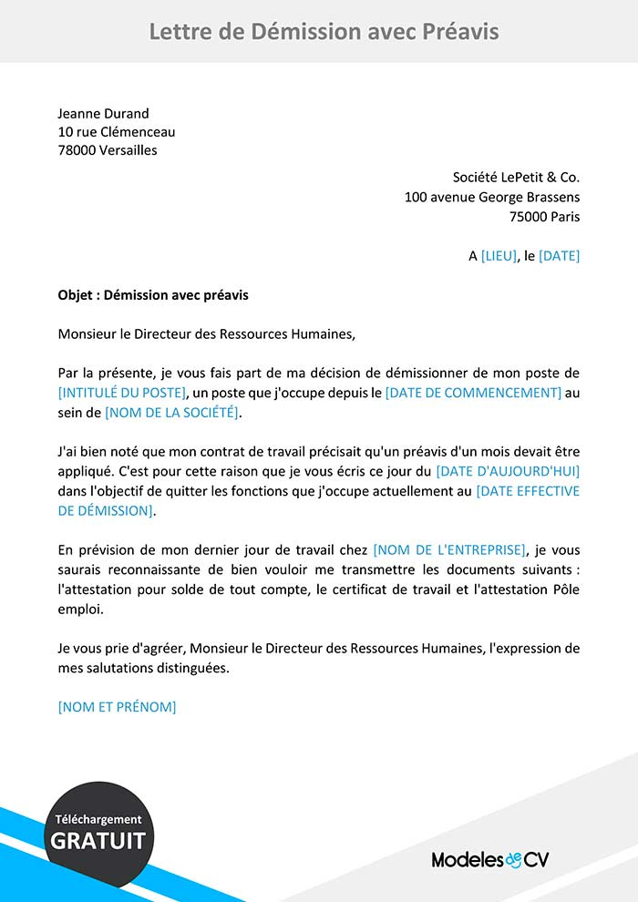lettre de démission avec préavis
