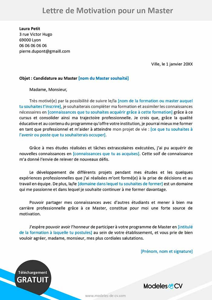 exemple de lettre de motivation pour un master