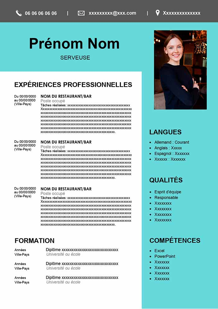 exemple cv serveuse