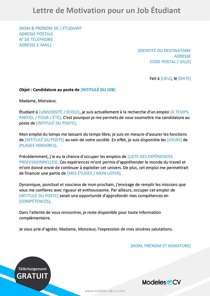 lettre de motivation job étudiant