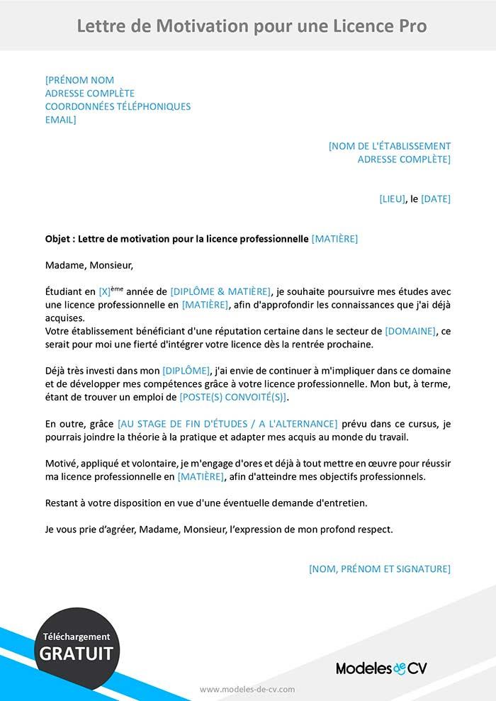lettre de motivation licence pro