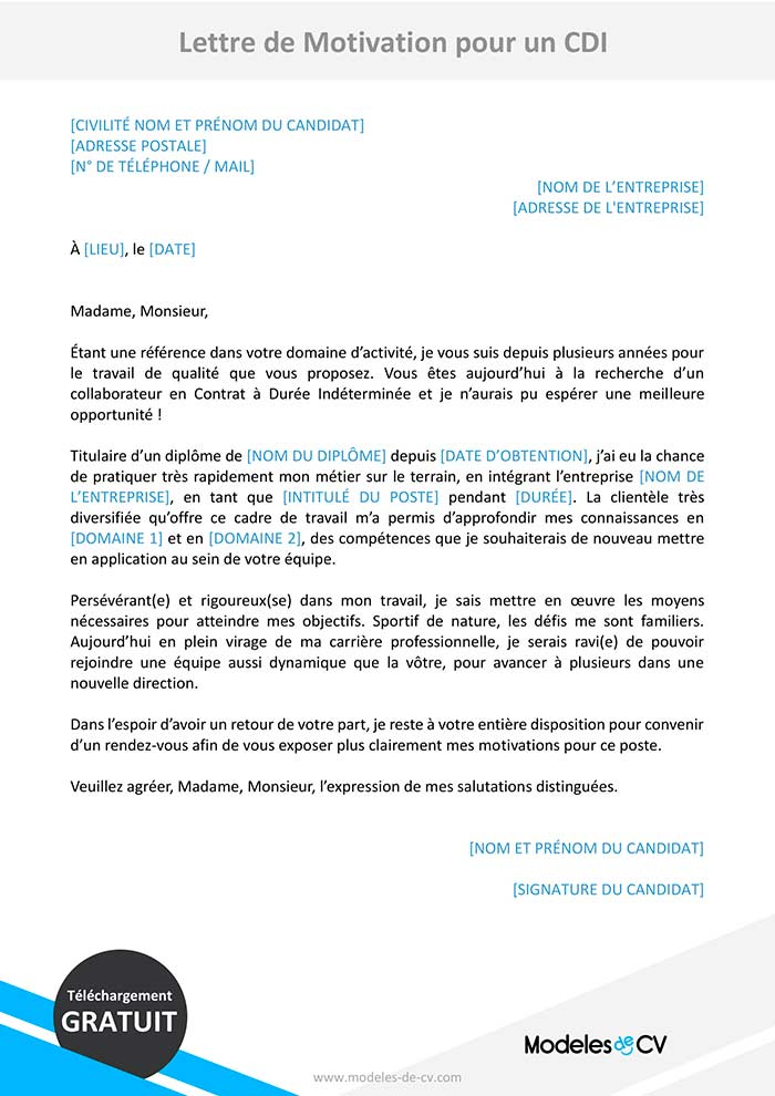 lettre motivation cdi