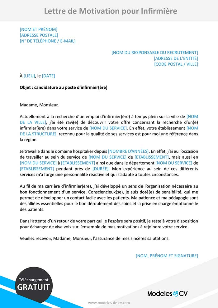 lettre de motivation pour infirmi u00e8re    infirmier