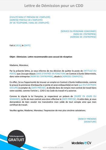 lettre de demission cdd