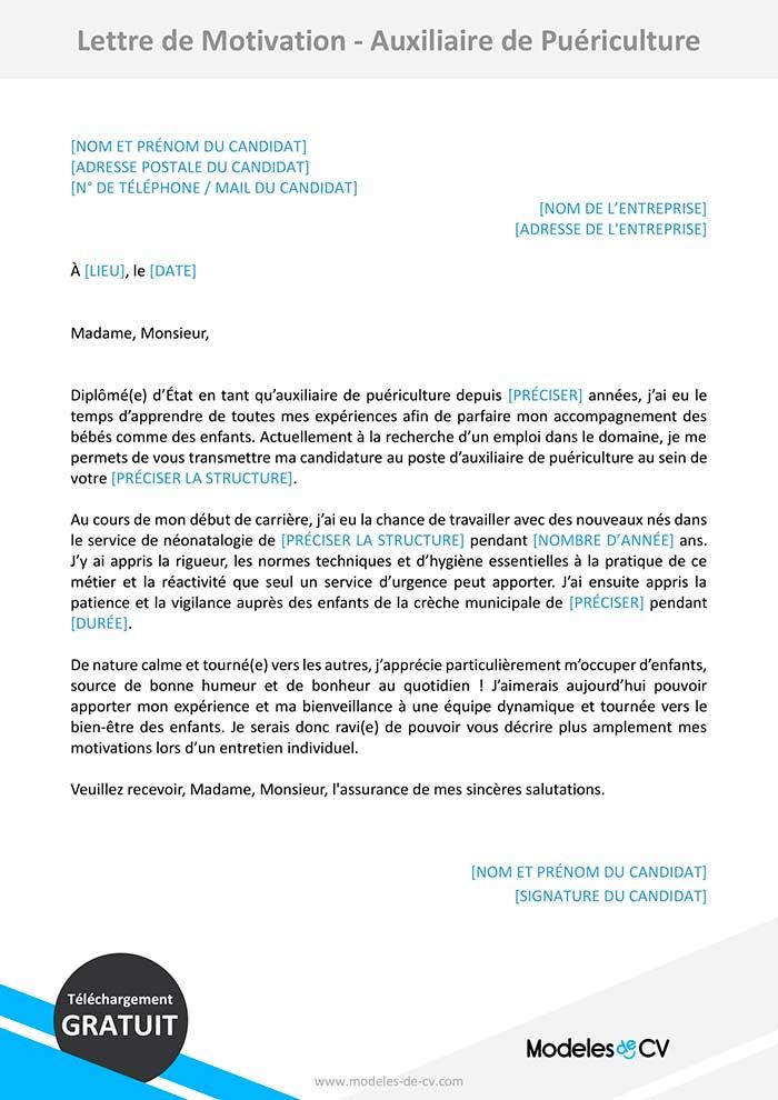 lettre de motivation auxiliaire de puériculture