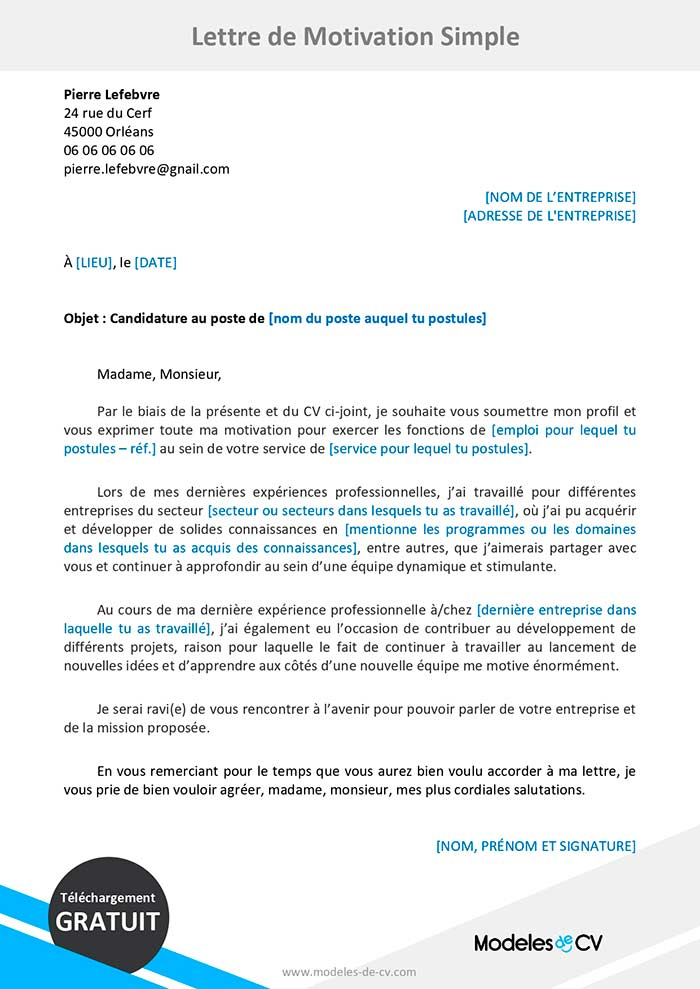 lettre de motivation candidature au master