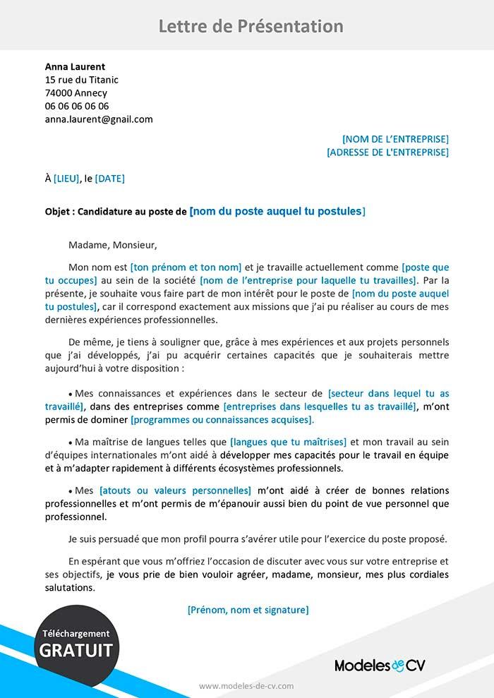 Exemple De Lettre De Presentation Gratuite A Telecharger Word