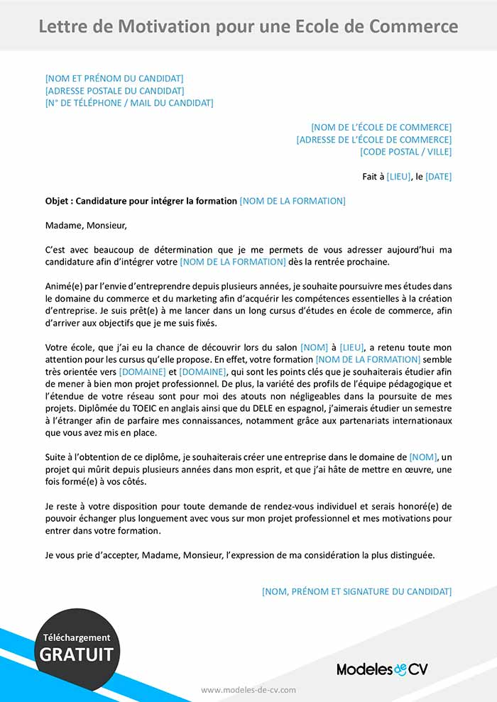 lettre de motivation ecole de commerce