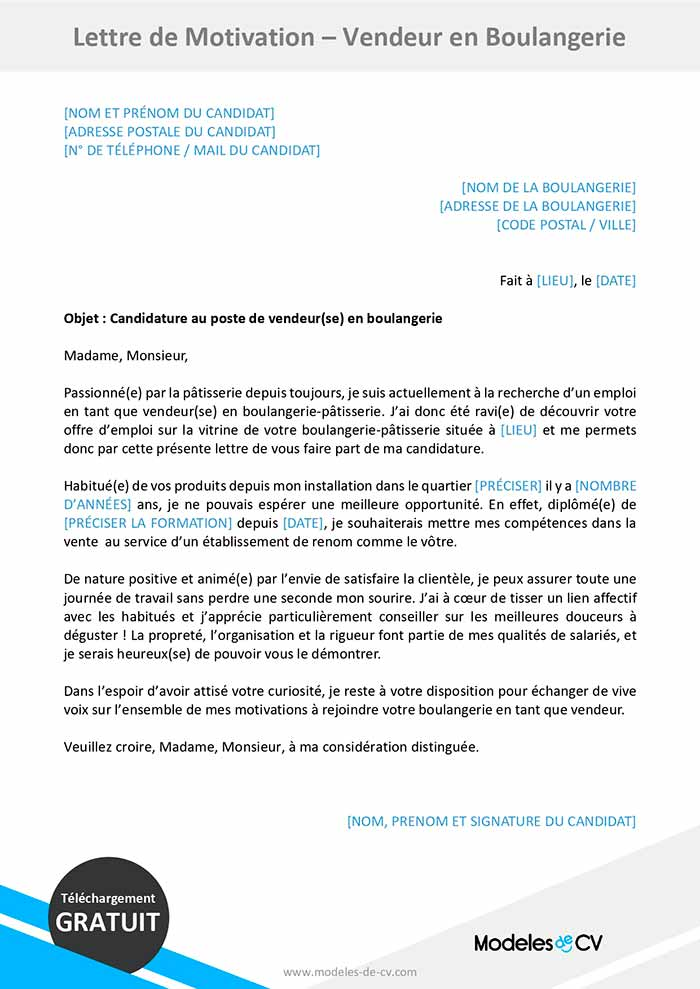 lettre motivation vendeuse boulangerie
