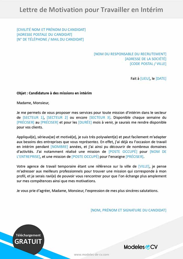 lettre de motivation interim