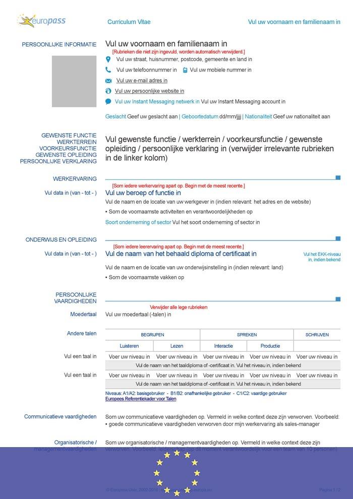 cv europass en néerlandais