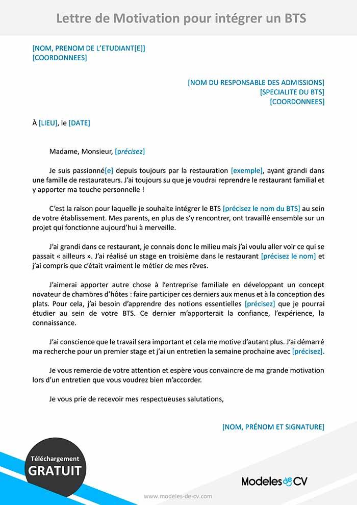 lettre de motivation integrer pour intégrer bts
